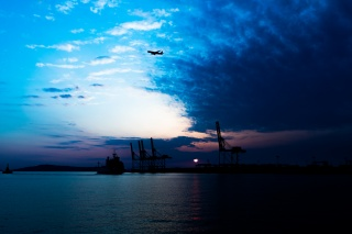 飛行機と空と船と海。 ついでに夕日